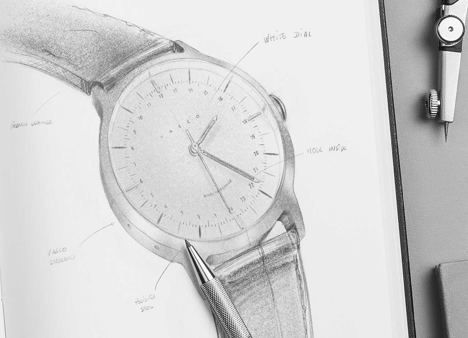 How to draw a watch? This sketch is our answer to the new collection from Vasco Watch.